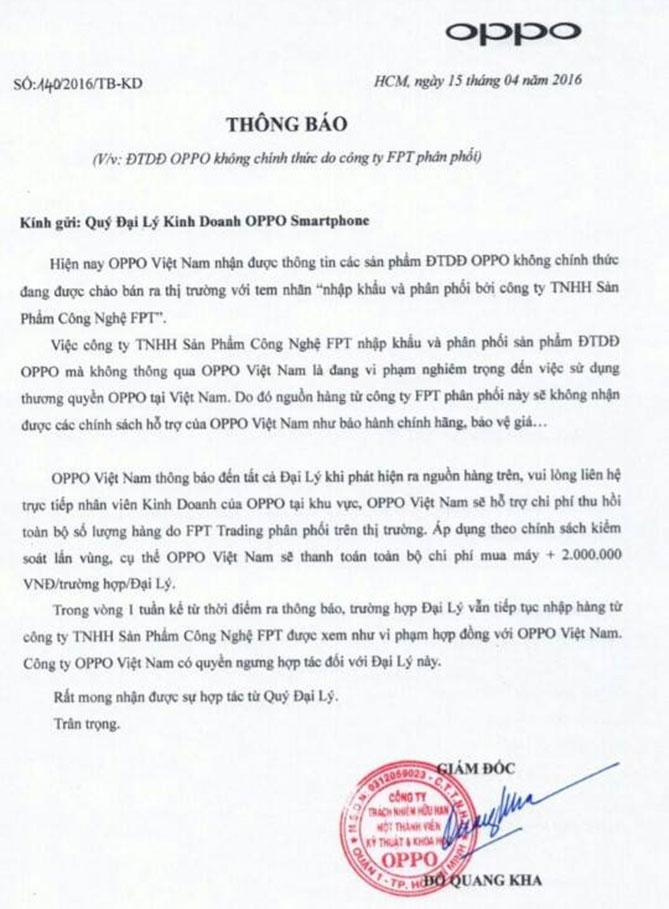 Oppo Việt Nam thông báo thu lại điện thoại do FPT phân phối