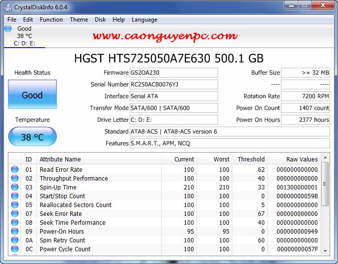 CrystalDiskInfo 6.0.4 Portable  – Phần mềm kiểm tra sức khỏe tình trạng ổ cứng!