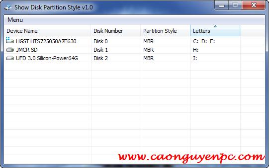 Show Disk – Phần mềm hỗ trợ kiểm tra ổ cứng chuẩn GPT hay MRB!