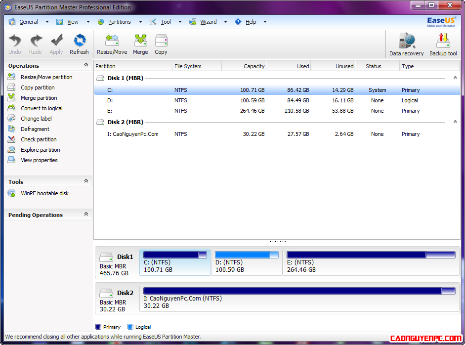 EaseUS Partition Master 9.3 Pro Full - Phần mềm quản lý và chia ổ cứng