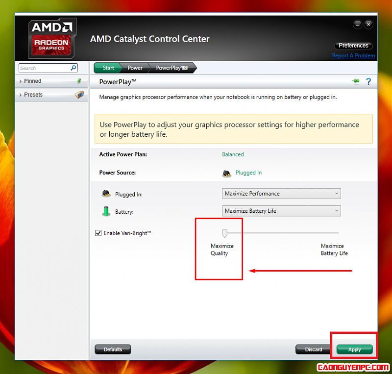Cách tăng chất lượng hiển thị cho máy chạy VGA rời AMD only
